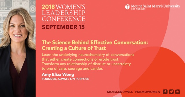 Amy Eliza Wong, Executive Life Coach and Public Speaker will be speaking at the Women's Leadership Conference, September 15th 2018 - Mount Saint Mary's